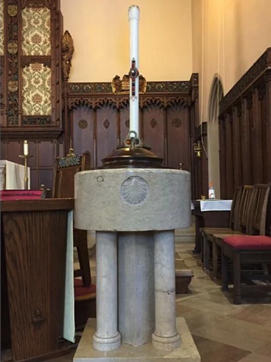 Baptismal Font & Paschal Candle